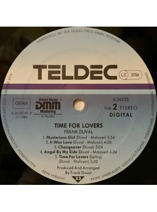 Frank Duval....Electronic, Rock, Pop..♫ - Time For Lovers; 1985/1985; NM/ VG+ - 500238