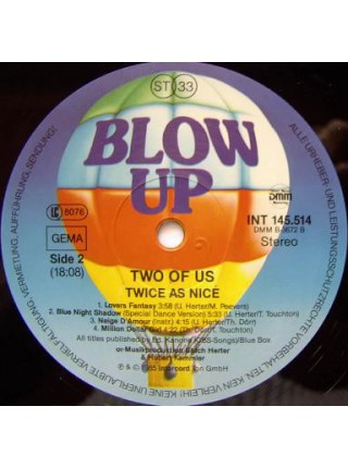 Two Of Us..... (Synth-pop) - Twice As Nice; 1985/1985; Germany; NM/VG+ - 500129